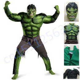 Máscara de fantasía online-El traje Hulk para niños Cosplay Disfraz de Halloween para niños Ropa de carnaval para niños Regalos Fantasy Muscle Mask