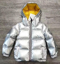 Wholesale 5t boys winter coat - New Winter Baby Girls Boys coat Top Quality Sliver stripe Down Jackets Children Warm Thickening Down Jackets silver color