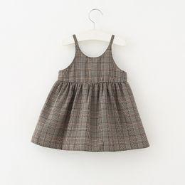 Wholesale Nice Briefs - 2018 New arrival Girls Kids nice plaid pring sling dress kids girl casual dress soft comfortable all match dress