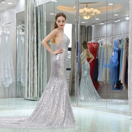 Wholesale Mermaid Prom Dresses Beauty - 2018 Silver Sparkling Evening Dress Suspenders Hanging Neck V-Neck Sleeveless Sexy Open Back Mermaid Prom Dress Sequins Dress Beauty Pageant
