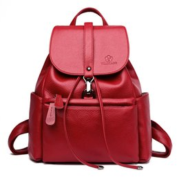 Рюкзак большой рюкзак онлайн-2018 New Antitheft Backpacks Female Drawstring Soft Leather Backpacks for School Shoulder Bags Ladies Large Capacity Travel Pack