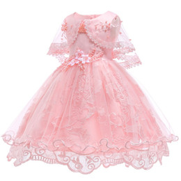 2019 платья для девочек из хлопка Цветочница платья для партии свадьбы девочки 1 - й год рождения наряд хлопок Лингование дети девушки Первое причастие платья