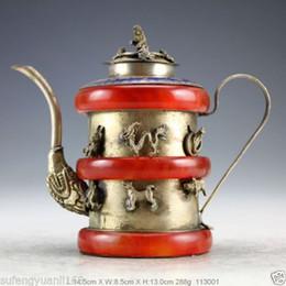 2019 copas de vino de tallo Trabajo hecho a mano chino Silver Jade Bracelet Monkey Teapot