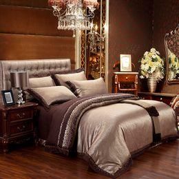 Wholesale Pink Jacquard Bedspread - New bedding set jacquard Satin Silk 100% cotton bed sheet set Home Textile duvet cover bedclothes bedspread discount