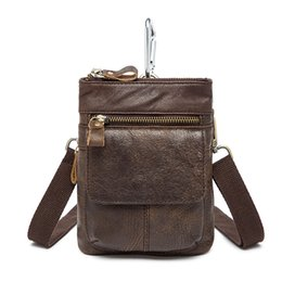 Wholesale mobile coffee - Fashion Genuine Leather Casual Multi-function Bag Men's Shoulder Messenger Bag Hook Belt Waist Pack Mobile Phone Bags For Travel