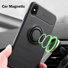 Матовый дизайн ТПУ магнитный держатель кольца сотовый телефон чехол для Iphone XS макс Samsung Galaxy S10 плюс A30 A50 A70 A9 броня чехол от