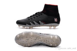 Wholesale Indoor Winter Boots - New Soccer Cleats 2018 Neymar JR Hypervenom Phantom II TF Soccer Boots Coffee Black Football Shoes CR7 Soccer Cleats Indoor Shoes