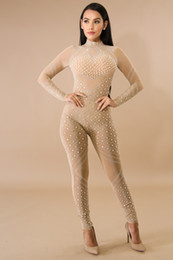 85aa93c8c6b 2018 new arrival Sexy perspective Jumpsuit rhinestone High Quality Women  O-Neck long sleeve Knitted Bandage Jumpsuits