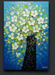 Cuchillo de flor pinturas al óleo online-Pintado a mano cuchillo de paleta pintura al óleo flor naturaleza pintura abstracta pared lienzo juegos de arte cuadros al óleo pinturas al óleo contemporáneas textura