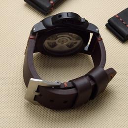 Guarda marrone marrone online-TJP 22mm 24mm 26mm marrone Blakc vintage spesso cinturino cinturino in vera pelle Sostituire PAM PAM111 Big Pilot Watch Wristband