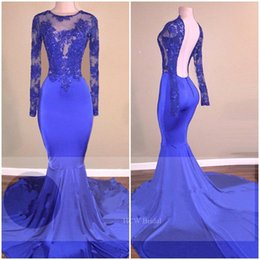 Wholesale Long Train Silk Robe - Royal Blue Backless Mermaid Evening Gowns 2018 Lace Appliques Illusion Long Sleeve Elastic Satin Prom Dresses Custom Made Robe De Soiree