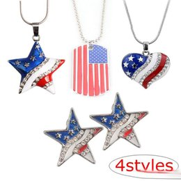 2019 patriotische anhänger Neue Mode 4styles amerikanische Flagge Emaille blau und rot Kristall Strass Pentagramm patriotischen 4. Juli Unabhängigkeitstag Anhänger Halskette rabatt patriotische anhänger