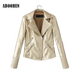 Wholesale Short Leather Jackets For Women - ABOORUN 2017 European and American Women Pink Leather Biker Jacket with Rivet Short Slim Faux Leather Jacket for Ladies P7080