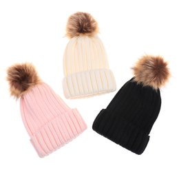 Apparel Accessories New Childrens Raccoon Fur Pom Poms Knit Beanies Hat Winter Hat Warm Boy Girl Skullies Slouchy Ski Thicken Hedging Cap Baby Kids 50% OFF