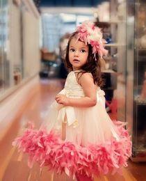 Wholesale lace feather toddler dress - 2018 Cute Halter Feather Tutu Toddler Girls Pageant Dresses For Toddler Zipper Back Tea-length Flower Girl Dresses Vestido De Desfile