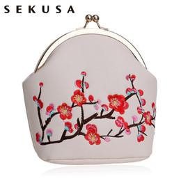 Wholesale Handmade Bags Summer Fashion - SEKUSA Printed Floral Handmade Clutch Metal PU Fashion Evening Bag With Chain Handbag Soft Small Purse For Summer Messenger