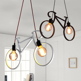 Wholesale led home lighting e27 - Retro Nordic Modern Iron Bicycle Chandelier Cafe Lighting LED Loft Bar Ceiling Lamp Bedroom Droplight Store Home Decor Gift