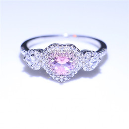 Wholesale pink cz wedding ring sets - Women Handmade Three-stone Jewelry Ring Romantic Heart Cutting Pink Sapphire CZ Real 925 Sterling Silver Wedding Ring For Women Size 5-9