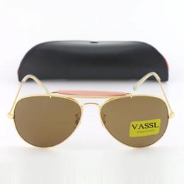 Wholesale Large Lens Glasses - 1pcs New Arrival Vassl Designer Pilot Sunglasses For Men Women Outdoorsman Sun Glasses Eyewear Large Gold Brown 62mm Glass Lenses With Case