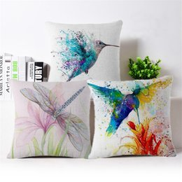 Wholesale flower sofas - 2017 Cushion Cover Bird animal Pillow Case Firm Flower self-portrait Sofa painting Bedroom Home Decorative Throw Pillow Cover