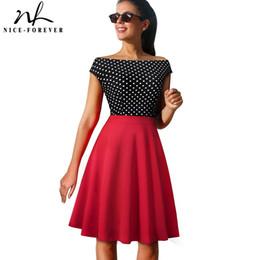 2019 abito di polo pinup Nizza-sempre Vintage Polka Dots Color Block Pinup Skater vestidos A-Line Business Women Party Flare Swing Summer Dress A112 abito di polo pinup economici