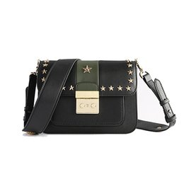 Wholesale Celebrity Bags Genuine Leather - 2017 Hot Fashion Women Bags Cross Shoulder Bags Celebrity Style Real Leather Color Block Stars Shoulder Bags Handbags