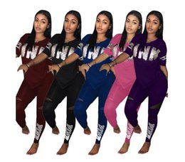 Wholesale Women Nightclub Shirts - Fashion sexy women casual short sleeves letter pink two pieces set t shirt +pant suits casual nightclub party pluze size tracksuit clothing