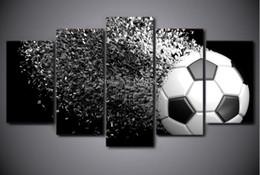 fußball bilderrahmen Rabatt 5 Panels Kunst Fußball Gedruckt Leinwand Malerei Wohnzimmer Moderne Wandkunst Ball Lauf Bilder Home Poster Kein Rahmen