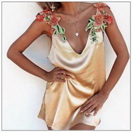 Wholesale womens dresses wholesalers - Sexy Elegant Womens' Deep V Neck Casual Dress Ladies Sleeveless Dress Flower Embroidery Party Dress Party Slip Dresses CCA9142 10pcs