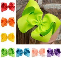 Wholesale Large Boutique Bows - Baby 8 Inch Large Grosgrain Ribbon Bow Hairpin Clips Girls Large Bowknot Barrette Kids Hair Boutique Bows Children Hair Accessories KFJ13
