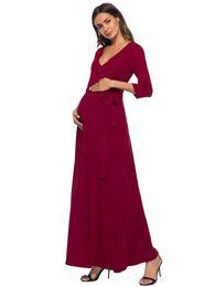 roupa de algodão de linho de maternidade Desconto Maternidade fêmea verão vestido solto grande tamanho de cintura alta V-saias com para mulheres grávidas saia da mulher grávida, cinto natural, mater