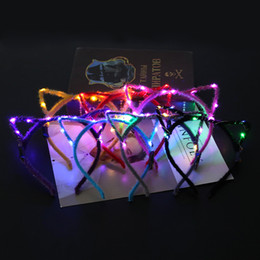 Wholesale led headbands light up - Led Cat Ear Headband Light Up Party Glowing Decoration Girl Flashing Hair Band Concet Cheer Fashion Halloween Xmas Gift GGA707 100pcs