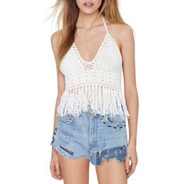 500a7f1d35 Women Summer Short Tassel Vest Sexy Boho Beach Knitting Halter Tank  Sleeveless Crop Tops Crochet Bikini Tank Tops Shirt