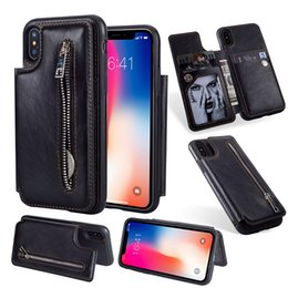 Wholesale Leather Flip Cases - Leather Flip Wallet Case Card Slot For Iphone X 8 7 6 6s Plus Samsung S8 Plus Note 8 Multi-function Magnetic Detachable Cover OPPBAG