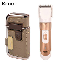 Wholesale Electric Travel Razors - Kemei Golden Electric Cordless Adjustable Hair Cutter Beard Trimer+Compact Rechargeable Men Foil Shaver Razor Blade Heads Travel