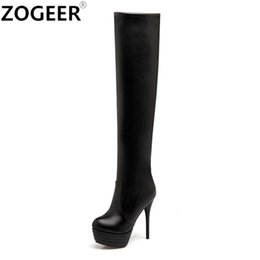 fb0fdc110ae Plus size 46 Sexy Fashion Over the Knee Boots Sexy Thin High Heel Thigh  high Boots Platform Party Night club Shoes Woman White