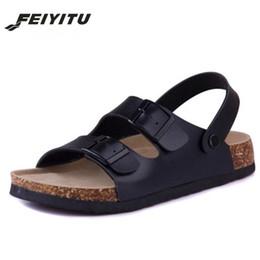 FeiYiTu Cork estilo Nueva manera del verano de los planos de los deslizadores unisex playa zapatos Hombre Negro sandalias flip flop blanco marrón tamaño 35-43 desde fabricantes