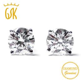 be13e4d9591d 2019 stud gold 14k Joyas de diamantes GemStoneKing 14K Oro blanco 0.22 Ct  Aretes de diamantes