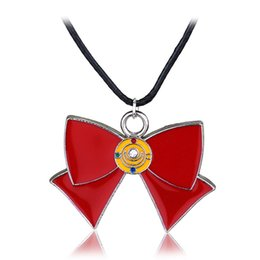 sailor moon party Promo Codes - Cute Anime Sailor Moon Red Bow Alloy Necklaces Jewelry Retail Enamel Charm Pendants Necklace Jewelry for Girls Women Statement
