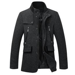 Мужская куртка из черной шерсти онлайн-Мода зима стенд воротник шерсть пальто мужская куртка черный хлопок шерстяное пальто Мужские Куртки пальто мужчины 2XL