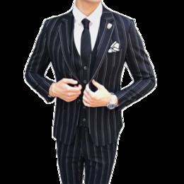Otoño e invierno traje de vestir a rayas para hombres negro azul marino de gama alta banquete de boda para hombres chaqueta de los hombres chaqueta + chaleco + pantalones desde fabricantes
