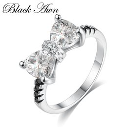 Wholesale 925 silver butterfly ring - [BLACK AWN] Genuine 925 Sterling Silver Jewelry Wedding Rings for Women Butterfly Knot Black&White Stone Ring C285