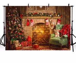 Fond de photos en intérieur en Ligne-Vinyle Photographie Fond De Noël Toile De Fond Arbre Cheminée Cadeaux Jouet Intérieur Enfants Décors pour Photo Studio ZR-206