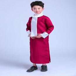 Trajes de dois lados on-line-Traje de Halloween Chinês menino Crosstalk Esboço Storytelling Desempenho Roupas Longas De Algodão Vestido Robe Vestido De Dois Lados