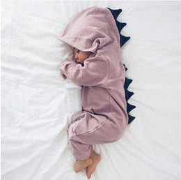 Wholesale Baby Boy Warm Clothes - Baby Boy Girl 3D Dinosaur Costume Solid Pink Gray Rompers Baby Clothes Warm Spring Autumn Cotton Jumpsuits Playsuit Clothes