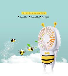 2019 carregador usb lâmpadas Bebê Bee Pequeno Ventilador Com 7 Cores LED Portátil Ultra-Slim Mini Ventilador 4 W Handy Bastante Ventiladores USB Para Os Estudantes de Escritório Ao Ar Livre