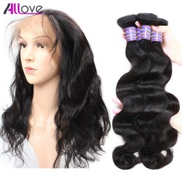 Wholesale Brazilian Baby Hair Weave - 8A Allove Brazilian Body Wave 2pcs with 360 Lace Frontal Malaysian Lace Frontal Baby Hair Closure Peruvian 100% Virgin Indian Lace Frontal