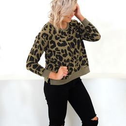 2019 hoodie del leopardo del invierno de las mujeres Sudaderas con capucha Mujer Sudaderas Sexy Leopardo Impreso O Cuello Suéteres Sudadera 2019 Otoño Invierno Venta caliente Caqui Camisetas de manga larga rebajas hoodie del leopardo del invierno de las mujeres
