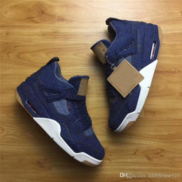 Wholesale Denim Jeans For Women - 2018 Newest Air Retro 4 Denim Blue Jean Basketball Shoes For Men Authentic Sneakers With Box Cowboy Jeans Spors Shoes Top Quality US7-13