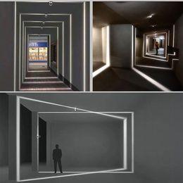 portes de porche Promotion LED Applique Couloir Couloir Portes Fenêtres Éclairage Lignes Lumineuses Cadre Designer Porche Éclairage Appliques Luminaires